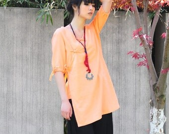Middle Length Sleeve Long Blouse with Handmade Buttons/ 19 Colors/ RAMIES