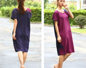 Ethnic Style Patchwork Long Linen Dress with Silver Buttons/ More Color Schemes/ RAMIES