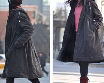 Lovely Babydoll Winter Long Coat/ Hoodie in GREY/ 8 Colors/ RAMIES