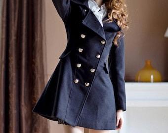 Lovely Double-breasted Coat Dress /Navy/ Camel/ Black/ Wool Jacket/ RAMIES