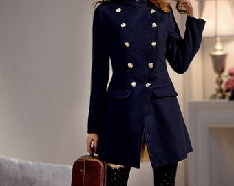 Classic Double-breasted Winter Coat  /  Stand-up Collar Wool Jacket in NAVY/ 20 COLORS/ RAMIES