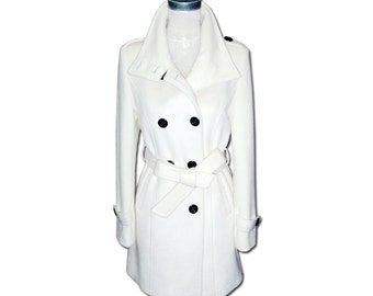 Double-breasted Winter Coat  /  Stand-up Collar Wool Jacket with Belt / 21 Colors/ RAMIES