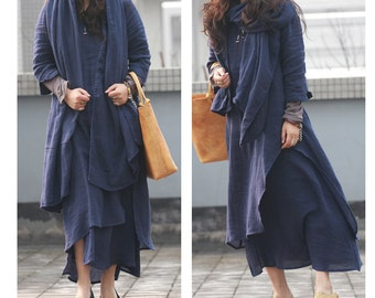 Romantic Long dress with two layers OUTFIT Including Scarf/ 7 Colors/ RAMIES