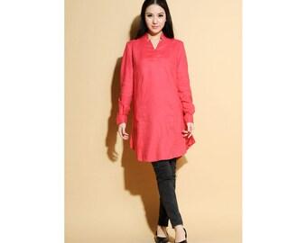 3.14 Ethnic Style Linen Mini Dress/ 18 Colors/ Any Size/ RAMIES