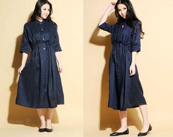 False Two-Pieces Linen Long Dress / High Waisted Drawstring Dress / 19 Colors/ RAMIES