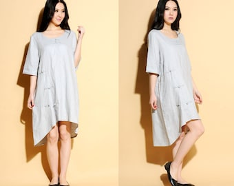 Ethnic Style Asymmetrical Linen Dress with Handmade Buttons/ 27 Colors/ Any Size/ RAMIES