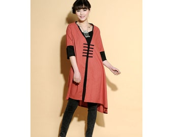 Patchwork Long Blouse Dress With Big handmade Buttons /More Color Schemes  / RAMIES