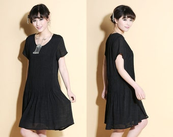 Elegant Full Pleated Silk Sundress with Short Sleeves/ 20 Colors/ RAMIES