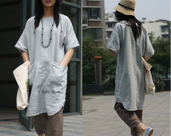 Lovely Long Linen  Dress/ 27 Colors/ ANY SIZE/ RAMIES