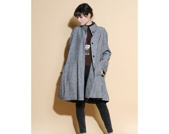 Free Style Pleated Linen Long Jacket/ Cape/ Heather  grey/ RAMIES