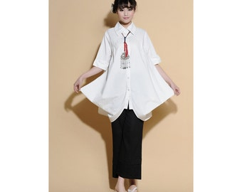 Pleated Linen Long Blouse with 1/2 Sleeves/ 25 Colors/ RAMIES