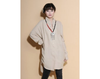 Ruffle Stand-up Collar Long Blouse/ 26 Colors/ RAMIES