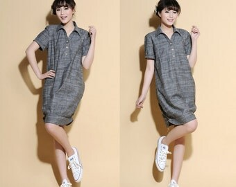 Bell-Shaped  Linen Shirt dress / Any Size/ 22 Colors/ RAMIES