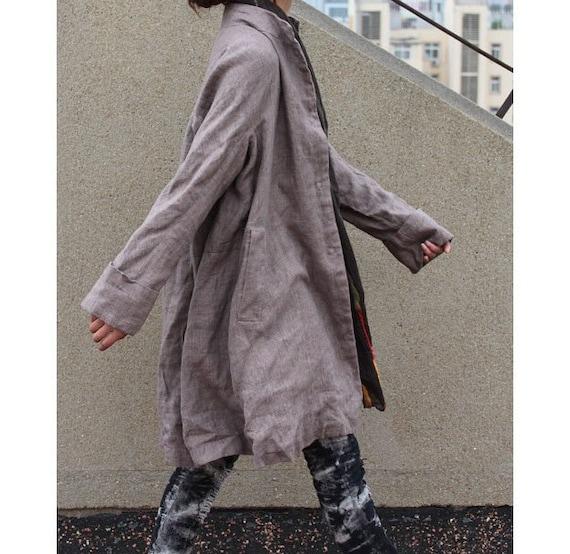Free Style Pleated Linen Long Jacekt/ Cape/ Light Brown/ Charcoal gray