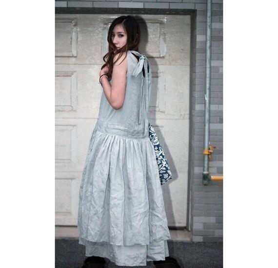 Dual Layered Bow-back Linen Dress / 22 Colors/ RAMIES