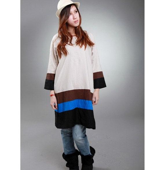 Long Patchwork Linen Shirt Dress / ANY SIZE/ RAMIES