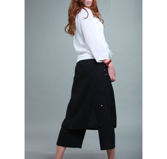 Culottes and Layered Silk Skirt With Handmade Buttons/ 8 Colors/ RAMIES