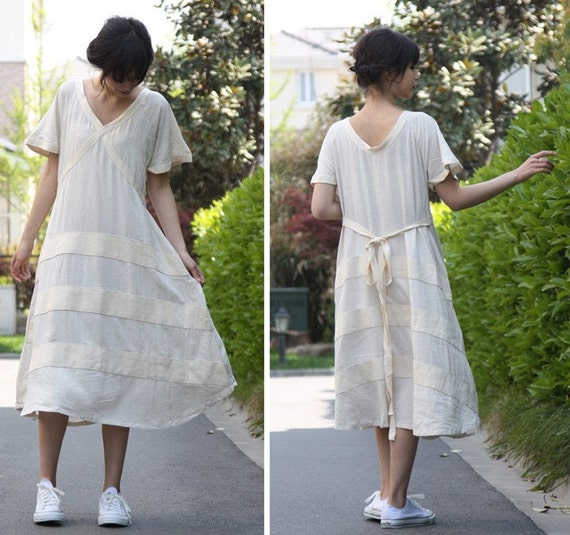 Extra Long Loose and Flowing Dress with Cloth Stripes/ 17 Colors/ RAMIES
