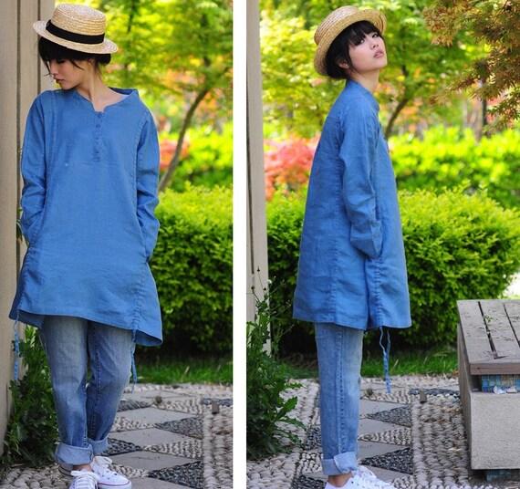 Half Button-Down Long Blouse/ Drawstring Linen Shirt Dress/ 35 Colors/ Any Size/ RAMIES