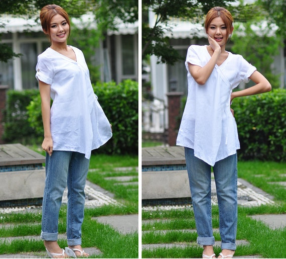 Drawstring Linen Long Blouse whith Pleats/ Ethnic Style Tunic with Ruffles/ 19 Colors/ RAMIES