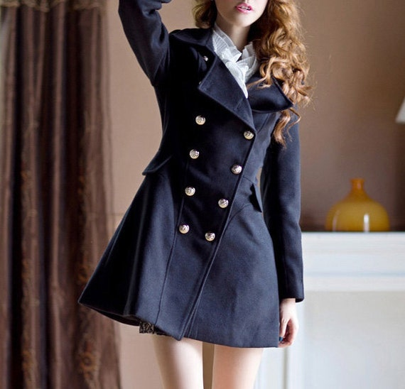 Lovely Double-breasted Coat Dress /Navy/ Camel/ Black/ Wool Jacket/ RAMIES