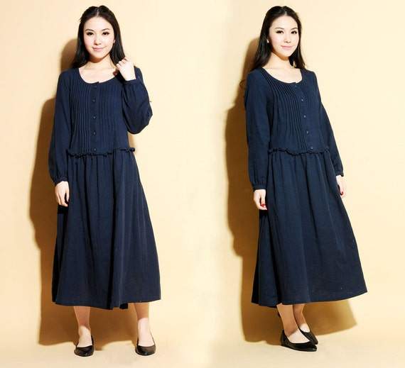 Linen Long dress with Accordion Folds/ 27 Colors/ RAMIES