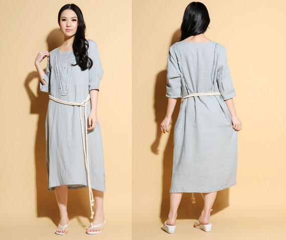 Ethnic Style Linen Long Dress with Ruffles/22 Colors/ RAMIES