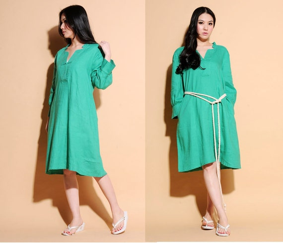 Ethnic Style Ruffled Linen Long dress with Handmade Buttons/ Stitched Neckline/ 32 Colors/ RAMIES