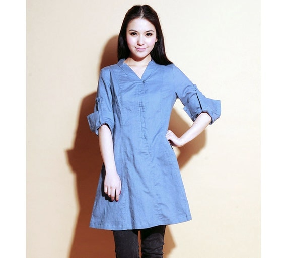 Ethnic Style Linen Shirt Dress/ 23 Colors/ Any Size/ RAMIES