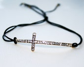Curved Crystal Cross - Black Pull Bracelet
