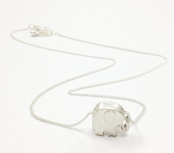 Silver 3d Elephant Necklace