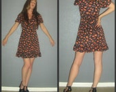 XS S Mod Vintage 60s Space Age Swiss Polka Dot Floral Tie Ruffle Babydoll Mini Dress
