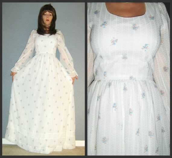 XS S Vtg 70s Sheer White Swiss Dot Stripe Floral Lace Boho Hippie Prairie Wedding Maxi Dress