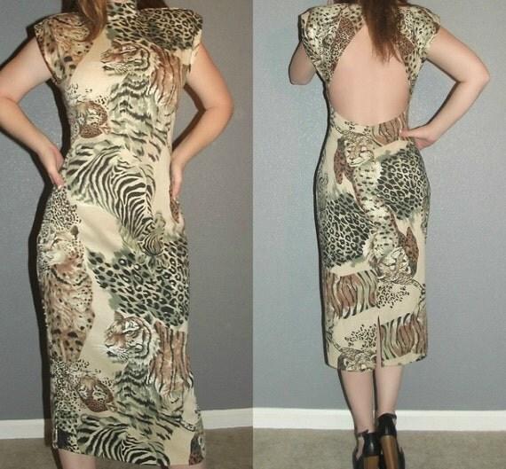 SM Vtg 80s Jungle Tiger Leopard Zebra Print Cut out NOVELTY Bodycon Bandage Mini Dress