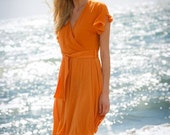 Alloro dress in organic fabric violet or orange