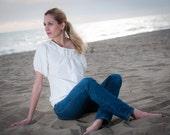 Melissa white blouse in organic cotton an silk