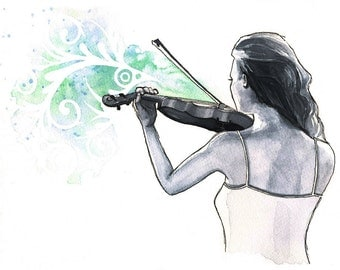 Girl with Violin - limited edition print