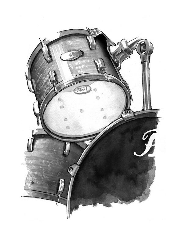 Drums - weathered print