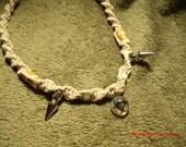 handmade hemp necklace glass biohazard pendant with spikes