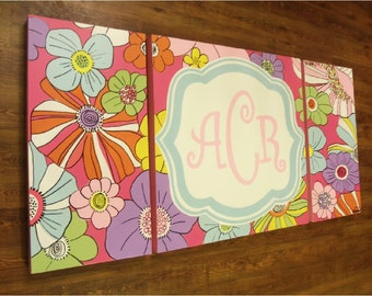 large colorful nursery art- personalized triptych - name monogram initials- hand painted- M2M bedding or decor