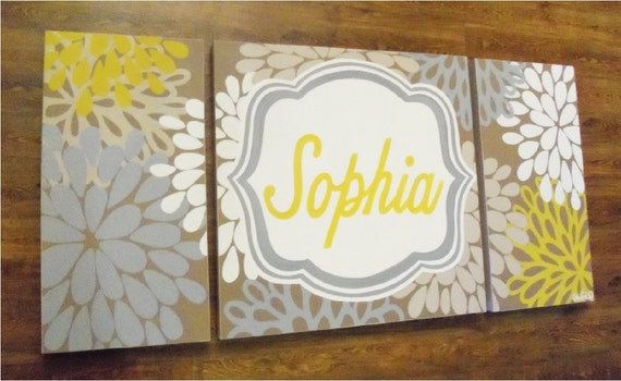 large nursery art- personalized triptych- name monogram initials- hand painted- modern floral - brown yellow grey