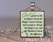 Serenity Prayer Scrabble Necklace - (Mint Green, Ivory, Brown) - Scrabble Tile Pendant with Chain