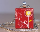 Whimsical Mod Flower Necklace - (WFF1 - Cherry Red, Gold, White) - Scrabble Tile Pendant with Chain