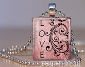 LOVE Scrabble Necklace - LH7 - Distressed Pink Swirl - Scrabble Tile Pendant with Chain