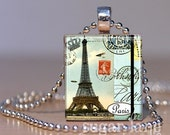 Vintage-Inspired Eiffel Tower Necklace - Piece of Paris, Pale Blue, Brown, Postmarks - Scrabble Tile Pendant with Chain