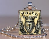 Monogram Initial Necklace - Believe With All Your Heart, Ivory, Black - Scrabble Tile Pendant with Chain
