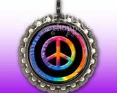 Tie Dye Peace Sign Necklace - Bottle Cap Pendant with Chain