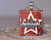 Patriotic USA Necklace - (FJA1 - Red, White, Blue, Star) -  Scrabble Tile Pendant with Chain