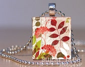 Leaf Floral Pattern Necklace - (PVC2 - Burgandy Taupe Green) - Scrabble Tile Pendant with Chain