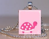 Pink Turtle Necklace (PB2) - Scrabble Tile Pendant with Chain